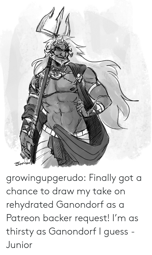 junior: Sunror growingupgerudo:  Finally got a chance to draw my take on rehydrated Ganondorf as a Patreon backer request!I'm as thirsty as Ganondorf I guess-Junior