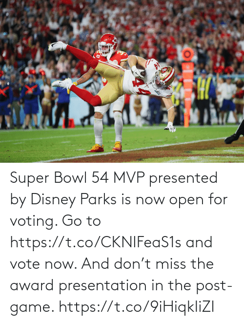 Parks: Super Bowl 54 MVP presented by Disney Parks is now open for voting. Go to https://t.co/CKNIFeaS1s and vote now.   And don't miss the award presentation in the post-game. https://t.co/9iHiqkIiZI