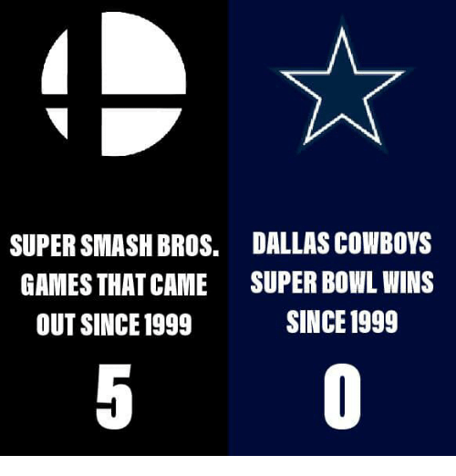 Dallas Cowboys: SUPER SMASH BROS.  GAMES THAT CAME  OUT SINCE1999  DALLAS COWBOYS  SUPER BOWL WINS  SINCE 1999