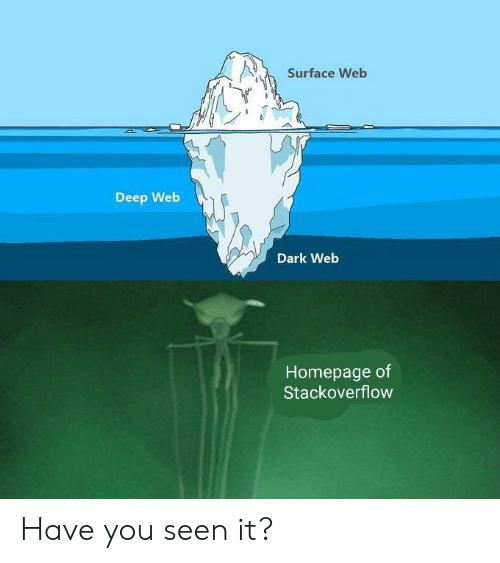 Deep Web, Dark Web, and Dark: Surface Web  Deep Web  Dark Web  Homepage of  Stackoverflow Have you seen it?