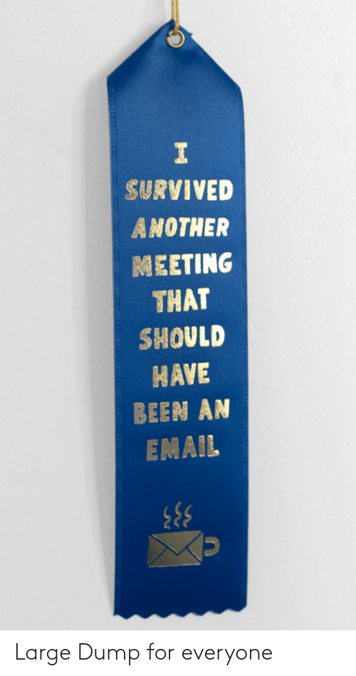 Email: SURVIVED  ANOTHER  MEETING  THAT  SHOULD  HAVE  BEEN AN  EMAIL Large Dump for everyone