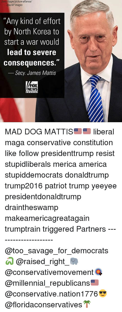 """James Mattis: Sven Hoppe/picture-alliance/  dpa/AP Images  """"Any kind of effort  by North Korea to  start a war would  lead to severe  consequences.  Secy James Mattis  FOX  NEWS  hannol MAD DOG MATTIS🇺🇸🇺🇸 liberal maga conservative constitution like follow presidenttrump resist stupidliberals merica america stupiddemocrats donaldtrump trump2016 patriot trump yeeyee presidentdonaldtrump draintheswamp makeamericagreatagain trumptrain triggered Partners --------------------- @too_savage_for_democrats🐍 @raised_right_🐘 @conservativemovement🎯 @millennial_republicans🇺🇸 @conservative.nation1776😎 @floridaconservatives🌴"""