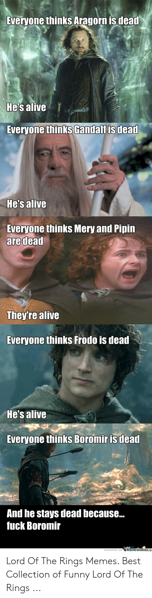 funny lotr: Sveryone thinks Aragorn is deat  He's alive  Everyone thinks Gandalfis dead  Hes alive  Everyone thinks Mery and Pipin  are dead  They're alive  Everyone thinks Frodo is dead  He's alive  Everyone thinks Boromir is dead  And he stays dead because...  fuck Boromir  memecenter.com MemeCenterl Lord Of The Rings Memes. Best Collection of Funny Lord Of The Rings ...