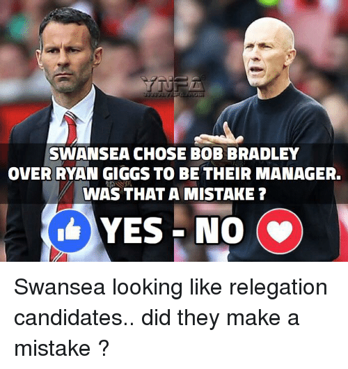 ryan giggs: SWANSEA CHOSE BOB BRADLEY  OVER RYAN GIGGS TO BE THEIR MANAGER.  WAS THAT A MISTAKE?  YES NO  (v) Swansea looking like relegation candidates.. did they make a mistake ?