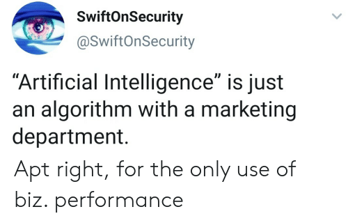 "marketing: SwiftOnSecurity  @SwiftOnSecurity  ""Artificial Intelligence"" is just  an algorithm with a marketing  department. Apt right, for the only use of biz. performance"