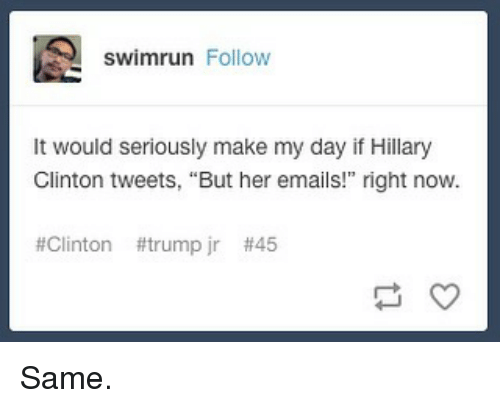 """Clinton Trump: swimrun Follow  It would seriously make my day if Hillary  Glinton tweets, """"But her emails!"""" right now.  #Clinton #trump jr Same."""