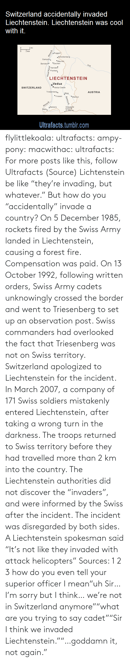 """But Whatever: Switzerland accidentally invaded  Liechtenstein. Liechtenstein was cool  with it.  km  Ruggell  Séhellenberg  Gampfe.  *Maure  *Eschen  Bendern  Nendel  Planken  LIECHTENSTEIN  Vaduz  """"Vaduz Castie  SWITZERLAND  Triesenbers.  AUSTRIA  Steg  *Triesen  *Malbun  Rhine R.  """"Balzers  Mals.  Grausoltz  8,521  2.500 m)  Ultrafacts.tumblr.com  Haupt Kanal  Samina R flylittlekoala:  ultrafacts:  ampy-pony:  macwithac:  ultrafacts:  For more posts like this, follow Ultrafacts (Source)  Lichtenstein be like """"they're invading, but whatever.""""  But how do you """"accidentally"""" invade a country?  On 5 December 1985, rockets fired by the Swiss Army landed in Liechtenstein, causing a forest fire. Compensation was paid. On 13 October 1992, following written orders, Swiss Army cadets unknowingly crossed the border and went to Triesenberg to set up an observation post. Swiss commanders had overlooked the fact that Triesenberg was not on Swiss territory. Switzerland apologized to Liechtenstein for the incident. In March 2007, a company of 171 Swiss soldiers mistakenly entered Liechtenstein, after taking a wrong turn in the darkness. The troops returned to Swiss territory before they had travelled more than 2km into the country. The Liechtenstein authorities did not discover the """"invaders"""", and were informed by the Swiss after the incident. The incident was disregarded by both sides. A Liechtenstein spokesman said """"It's not like they invaded with attack helicopters"""" Sources: 1 2 3  how do you even tell your superior officer I mean""""uh Sir… I'm sorry but I think… we're not in Switzerland anymore""""""""what are you trying to say cadet""""""""Sir I think we invaded Liechtenstein.""""""""…goddamn it, not again."""""""