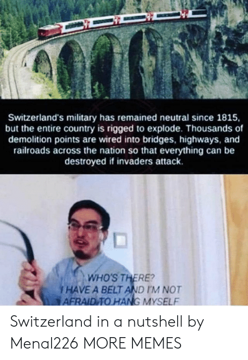 Dank, Memes, and Target: Switzerland's military has remained neutral since 1815,  but the entire country is rigged to explode. Thousands of  demolition points are wired into bridges, highways, and  railroads across the nation so that everything can be  destroyed if invaders attack.  and  ds across the nation so  WHO'S THERE?  i HAVE A BELT AND IM NOT  AFRAID TO HANG MYSELF Switzerland in a nutshell by Menal226 MORE MEMES