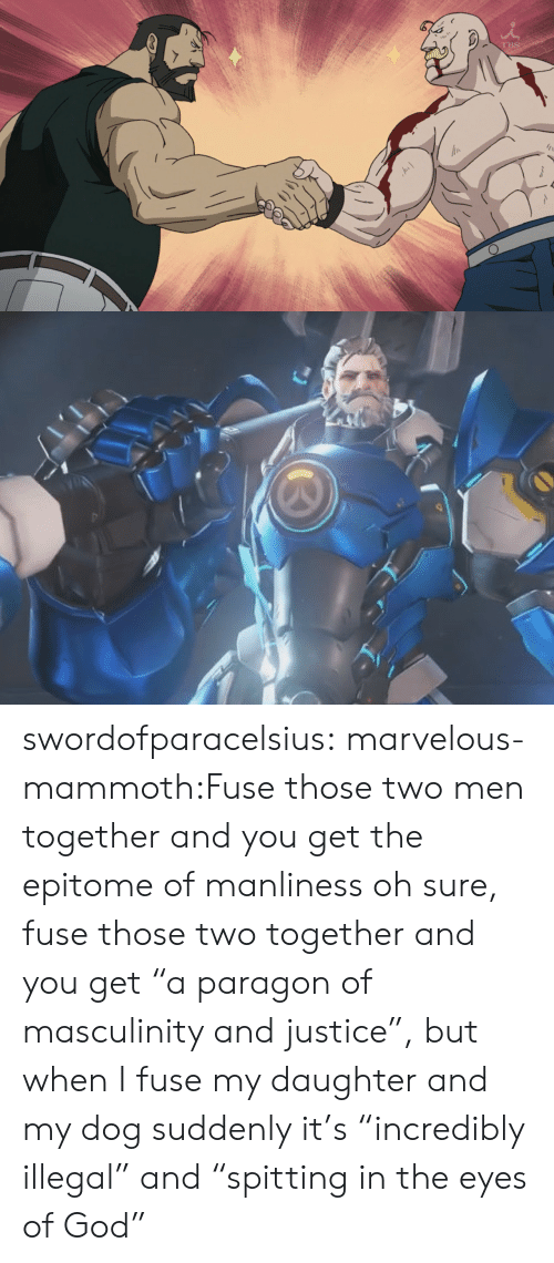 """God, Tumblr, and Blog: swordofparacelsius:  marvelous-mammoth:Fuse those two men together and you get the epitome of manliness   oh sure, fuse those two together and you get """"a paragon of masculinity and justice"""",  but when I fuse my daughter and my dog suddenly it's """"incredibly illegal"""" and """"spitting in the eyes of God"""""""