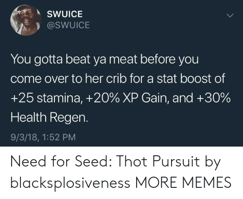 Come Over To: SWUICE  @SWUICE  You gotta beat ya meat before you  come over to her crib for a stat boost of  +25 stamina, +20% XP Gain, and +30%  Health Regen.  9/3/18, 1:52 PM Need for Seed: Thot Pursuit by blacksplosiveness MORE MEMES