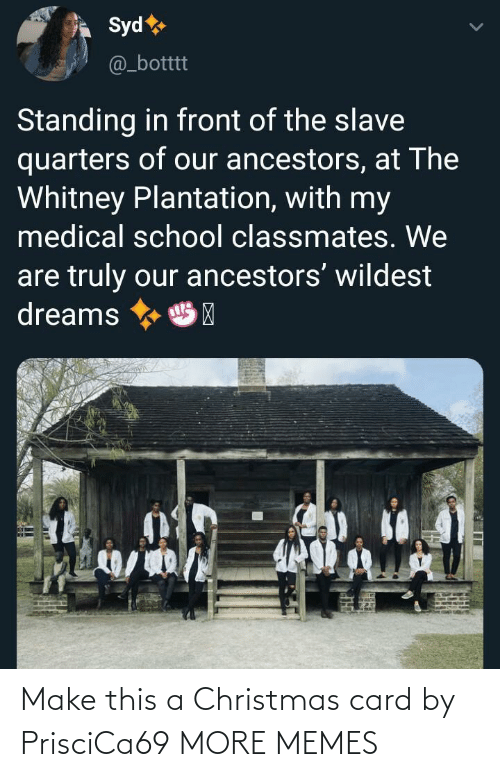 Of Our: Syd  @_botttt  Standing in front of the slave  quarters of our ancestors, at The  Whitney Plantation, with my  medical school classmates. We  are truly our ancestors' wildest  dreams  HP Make this a Christmas card by PrisciCa69 MORE MEMES