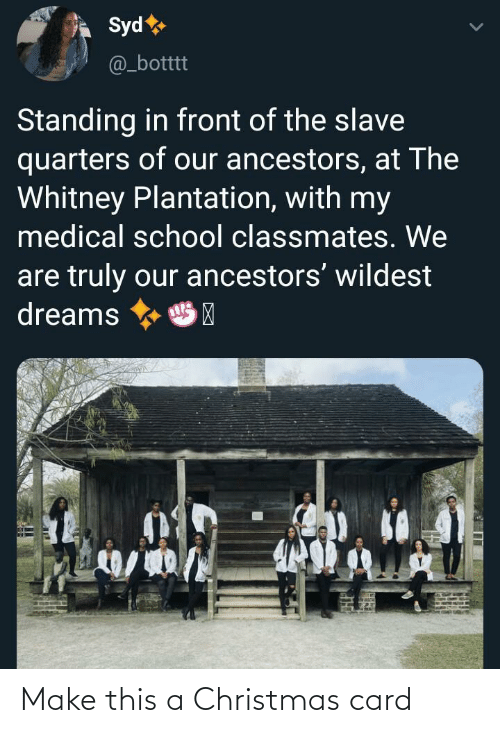 Truly: Syd  @_botttt  Standing in front of the slave  quarters of our ancestors, at The  Whitney Plantation, with my  medical school classmates. We  are truly our ancestors' wildest  dreams  HP Make this a Christmas card