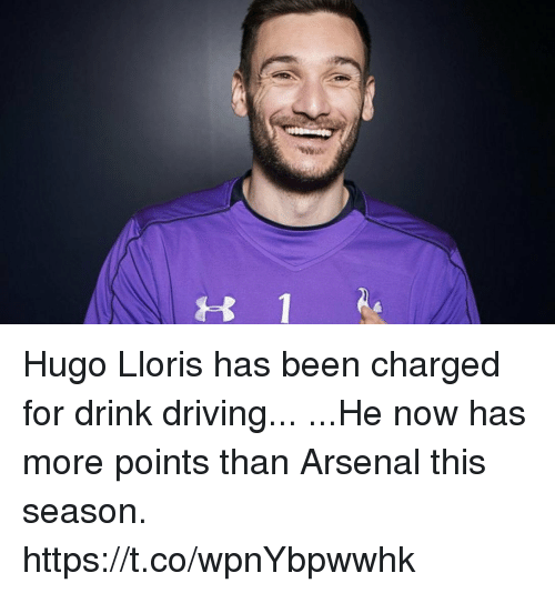 Arsenal, Driving, and Soccer: t 1 Hugo Lloris has been charged for drink driving...  ...He now has more points than Arsenal this season. https://t.co/wpnYbpwwhk