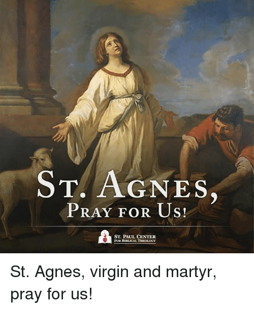 Memes, Virgin, and Virginity: T. AGNES  PRAY FOR US!  ST. PAUL CENTER  FOR BIBLICAL THEOLOGY St. Agnes, virgin and martyr, pray for us!