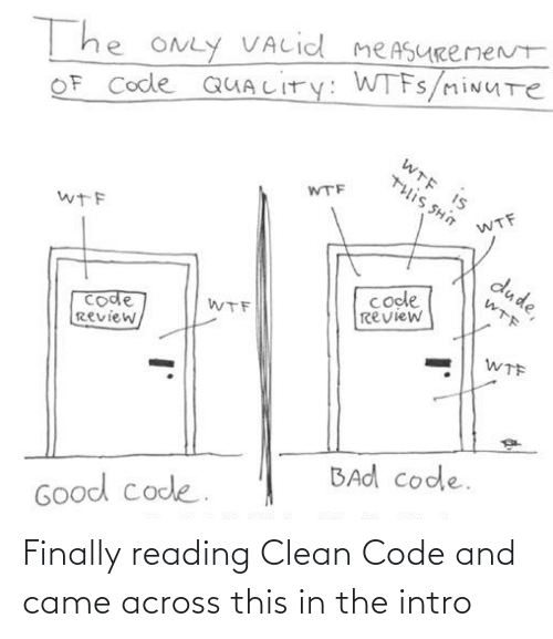 measurement: T he ONLY VALid meASURemeNt  OF Code QUALITY: WTFS/miNUTe  WTE IS  WTF  U HS SI11L  WTF  wTF  dude,  code  review  WTF  code  Review,  WTF  WTF  BAd code.  Good code. Finally reading Clean Code and came across this in the intro