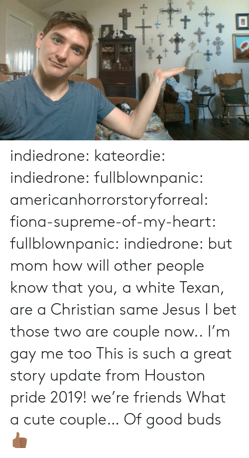 Great Story: t+ indiedrone:  kateordie:  indiedrone: fullblownpanic:  americanhorrorstoryforreal:  fiona-supreme-of-my-heart:  fullblownpanic:  indiedrone:  but mom how will other people know that you, a white Texan, are a Christian  same  Jesus  I bet those two are couple now..  I'm gay  me too   This is such a great story  update from Houston pride 2019! we're friends   What a cute couple… Of good buds 👍🏾