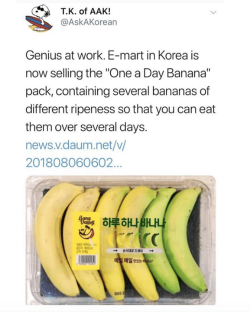 "News, Work, and Banana: T.K. of AAK!  @AskAKorean  Genius at work. E-mart in Korea is  now selling the ""One a Day Banana""  pack, containing several bananas of  different ripeness so that you can eat  them over several days.  news.v.daum.net/v  201808060602…  하루하나BHA  매일 Tse  060"