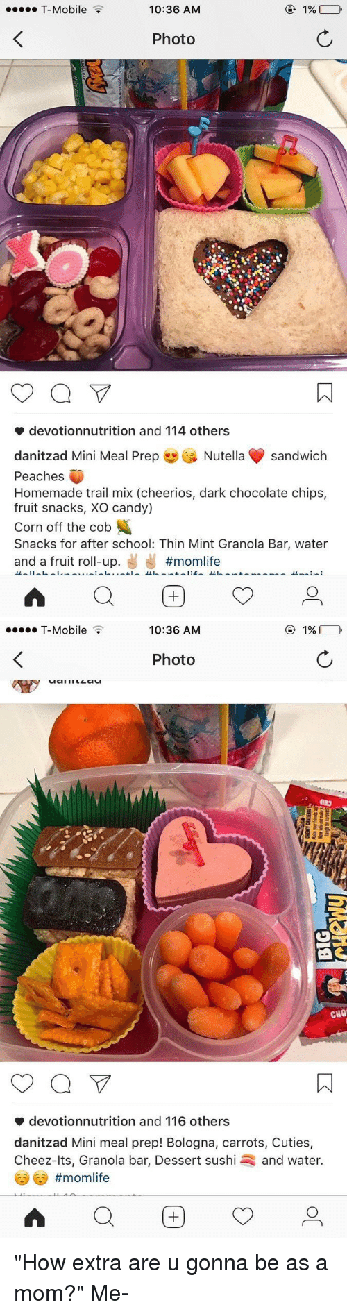 """dark chocolate: T-Mobile  1%  10:36 AM  Photo  a  devotionnutrition and 114 others  danitzad Mini Meal Prep  Nutella sandwich  Peaches  Homemade trail mix (cheerios, dark chocolate chips,  fruit snacks, XO candy)  Corn off the cob  Snacks for after school: Thin Mint Granola Bar, water  and a fruit roll-up.  #momlife   1%,  10:36 AM  T-Mobile  Photo  CITTILLa  CHO'  a  devotionnutrition and 116 others  danitzad Mini meal prep! Bologna, carrots, Cuties,  Cheez-lts, Granola bar, Dessert sushi and water  """"How extra are u gonna be as a mom?"""" Me-"""