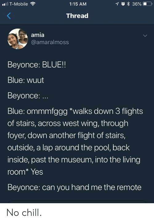 amia: T-Mobile  1:15 AM  Thread  amia  @amaralmoss  Beyonce: BLUE!!  Blue: wuut  Beyonce: ..  Blue: ommmfggg *walks down 3 flights  of stairs, across west wing, through  foyer, down another flight of stairs,  outside, a lap around the pool, back  inside, past the museum, into the living  room* Yes  Beyonce: can you hand me the remote No chill.
