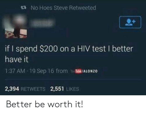 Bailey Jay, Hoes, and Test: t  No Hoes Steve Retweeted  if I spend $200 on a HIV test I better  have it  1:37 AM 19 Sep 16 from TubE/ALONZO  2,394 RETWEETS 2,551 LIKES Better be worth it!