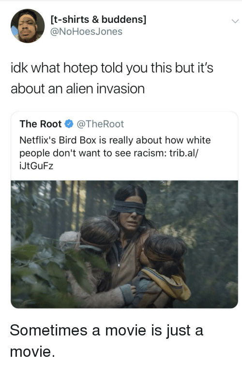 netflixs: [t-shirts & buddens]  ONoHoesJones  idk what hotep told you this but it's  about an alien invasion  The Root @TheRoot  Netflix's Bird Box is really about how white  people don't want to see racism: trib.al/  İJtGuF2 Sometimes a movie is just a movie.