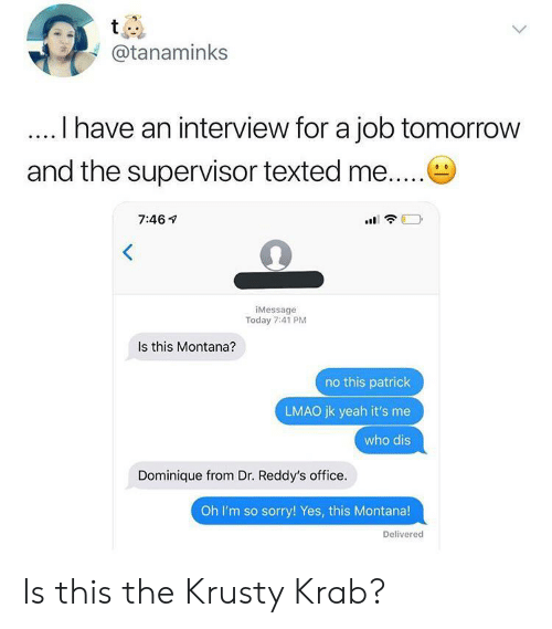 Krusty: t  @tanaminks  I have an interview for a job tomorrow  and the supervisor texted me....  7:46  iMessage  Today 7:41 PM  Is this Montana?  no this patrick  LMAO jk yeah it's me  who dis  Dominique from Dr. Reddy's office.  Oh I'm so sorry! Yes, this Montana!  Delivered Is this the Krusty Krab?