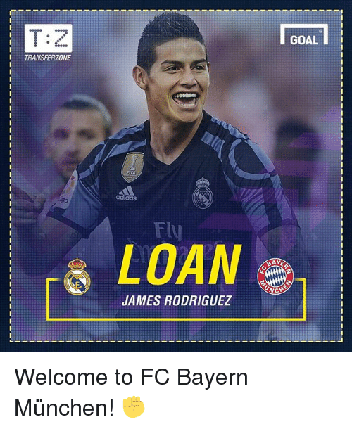 munchen: T:  TRANSFERZONE  Fly  LOAN  JAMES RODRIGUEZ Welcome to FC Bayern München! ✊