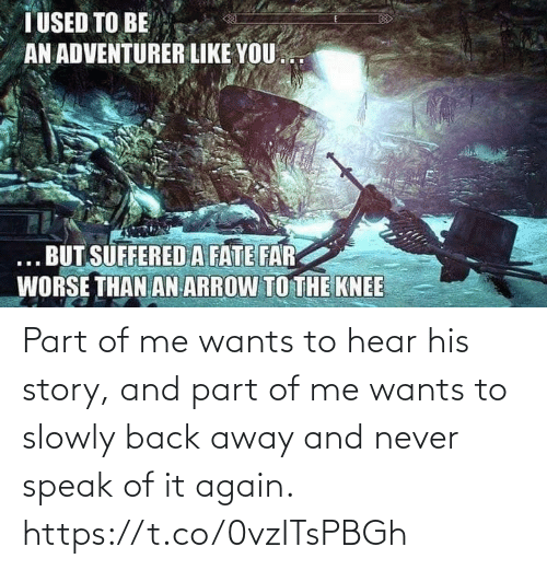 Video Games, Arrow, and Fate: T USED TO BE  AN ADVENTURER LIKE YOU.  ... BUT SÜFFERED A FATE FAR  WORSE THAN AN ARROW TO THE KNEE Part of me wants to hear his story, and part of me wants to slowly back away and never speak of it again. https://t.co/0vzITsPBGh