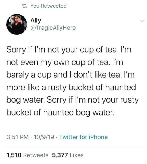 tea: t7 You Retweeted  Ally  @TragicAllyHere  Sorry if I'm not your cup of tea. I'm  not even my own cup of tea. I'm  barely a cup and I don't like tea. I'm  more like a rusty bucket of haunted  bog water. Sorry if I'm not your rusty  bucket of haunted bog water.  3:51 PM · 10/9/19 Twitter for iPhone  1,510 Retweets 5,377 Likes