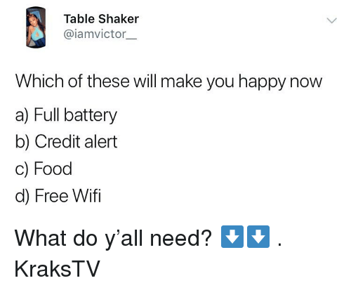 Food, Memes, and Free: Table Shaker  @iamvictor.  Which of these will make you happy now  a) Full battery  b) Credit alert  c) Food  d) Free Wifi What do y'all need? ⬇️⬇️ . KraksTV