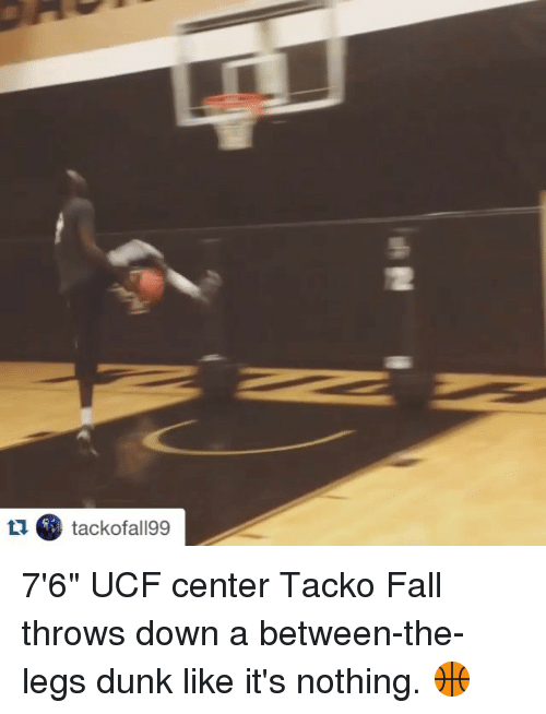 """Dunk, Fall, and Sports: tackofal199 7'6"""" UCF center Tacko Fall throws down a between-the-legs dunk like it's nothing. 🏀"""