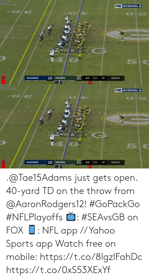 Free: .@Tae15Adams just gets open.  40-yard TD on the throw from @AaronRodgers12! #GoPackGo #NFLPlayoffs  📺: #SEAvsGB on FOX 📱: NFL app // Yahoo Sports app Watch free on mobile: https://t.co/8lgzlFahDc https://t.co/0xS53XExYf