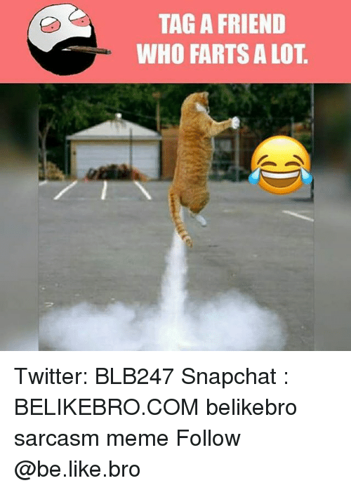 Be Like, Meme, and Memes: TAG A FRIEND  WHO FARTS A LOT Twitter: BLB247 Snapchat : BELIKEBRO.COM belikebro sarcasm meme Follow @be.like.bro