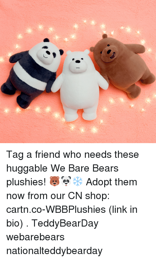 tag a friend who: Tag a friend who needs these huggable We Bare Bears plushies! 🐻🐼❄ Adopt them now from our CN shop: cartn.co-WBBPlushies (link in bio) . TeddyBearDay webarebears nationalteddybearday