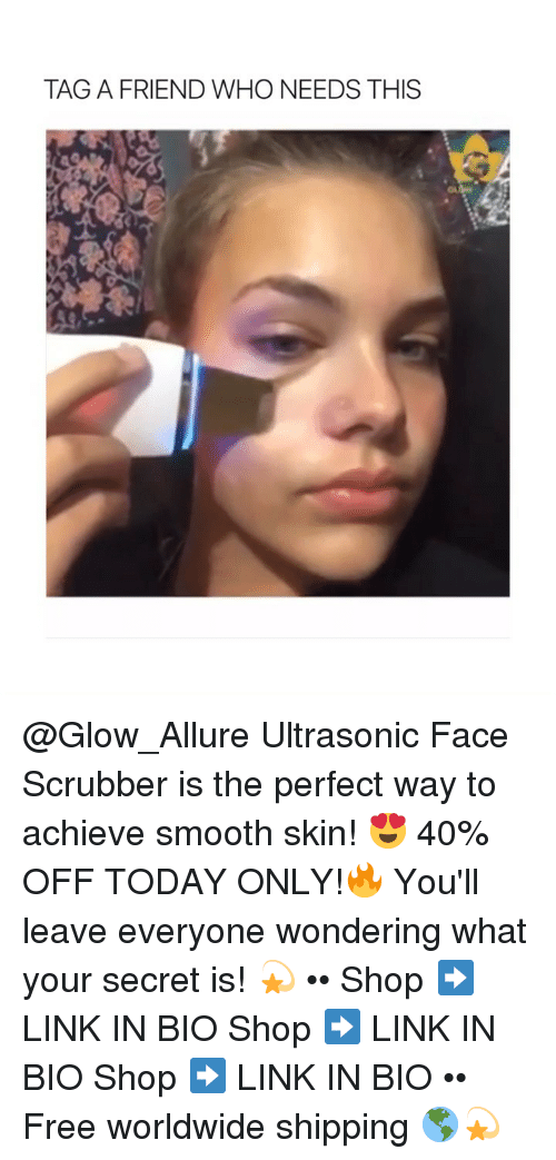 tag a friend who: TAG A FRIEND WHO NEEDS THIS  OL @Glow_Allure Ultrasonic Face Scrubber is the perfect way to achieve smooth skin! 😍 40% OFF TODAY ONLY!🔥 You'll leave everyone wondering what your secret is! 💫 •• Shop ➡️ LINK IN BIO Shop ➡️ LINK IN BIO Shop ➡️ LINK IN BIO •• Free worldwide shipping 🌎💫