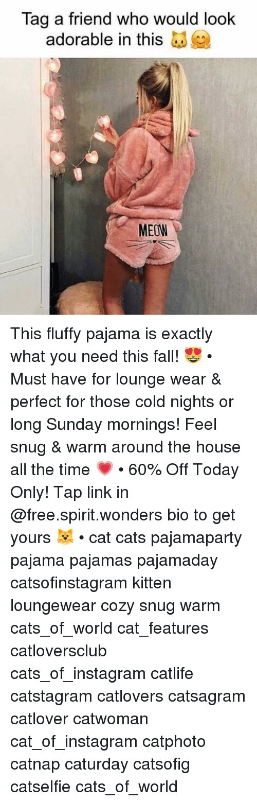 tag a friend who: Tag a friend who would look  adorable in this  MEOW This fluffy pajama is exactly what you need this fall! 😻 • Must have for lounge wear & perfect for those cold nights or long Sunday mornings! Feel snug & warm around the house all the time 💗 • 60% Off Today Only! Tap link in @free.spirit.wonders bio to get yours 🐱 • cat cats pajamaparty pajama pajamas pajamaday catsofinstagram kitten loungewear cozy snug warm cats_of_world cat_features catloversclub cats_of_instagram catlife catstagram catlovers catsagram catlover catwoman cat_of_instagram catphoto catnap caturday catsofig catselfie cats_of_world