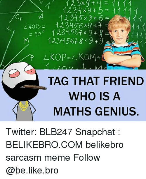 Geniusism: TAG THAT FRIEND  WHO IS A  MATHS GENIUS Twitter: BLB247 Snapchat : BELIKEBRO.COM belikebro sarcasm meme Follow @be.like.bro