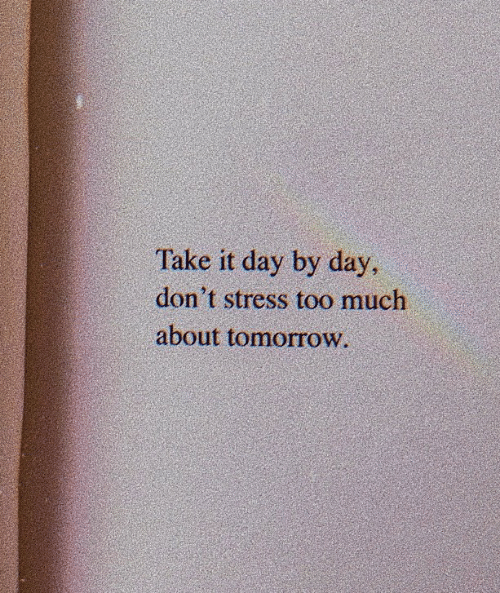 Too Much, Tomorrow, and Stress: Take it day by day  don't stress too much  about tomorrow.