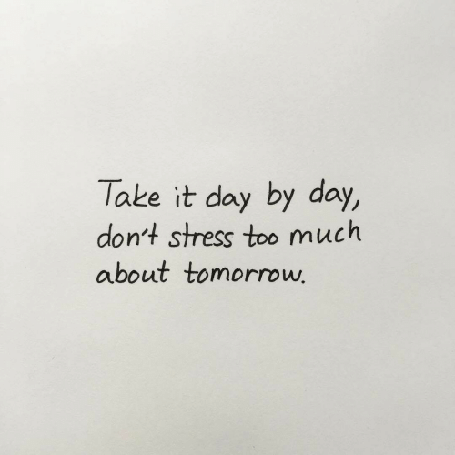 Too Much, Tomorrow, and Stress: Take it day by day,  dont stress too much  about tomorrow