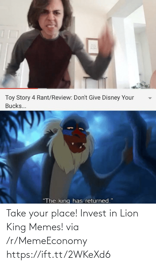 Lion King: Take your place! Invest in Lion King Memes! via /r/MemeEconomy https://ift.tt/2WKeXd6