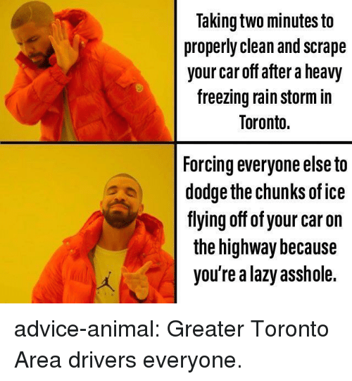 Advice, Lazy, and Tumblr: Taking two minutes to  properly clean and scrape  your car off after a heavy  freezing rain storm in  Toronto.  Forcing everyone else to  dodge the chunks of ice  fiying off of your car on  the highway because  you're a lazy asshole. advice-animal:  Greater Toronto Area drivers everyone.