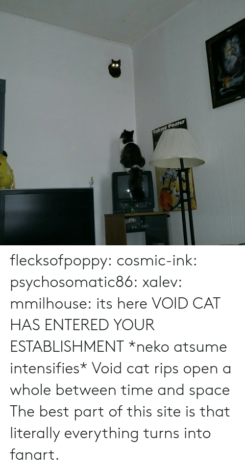 site: talking Posler flecksofpoppy: cosmic-ink:  psychosomatic86:  xalev:  mmilhouse:  its here  VOID CAT HAS ENTERED YOUR ESTABLISHMENT  *neko atsume intensifies*     Void cat rips open a whole between time and space  The best part of this site is that literally everything turns into fanart.