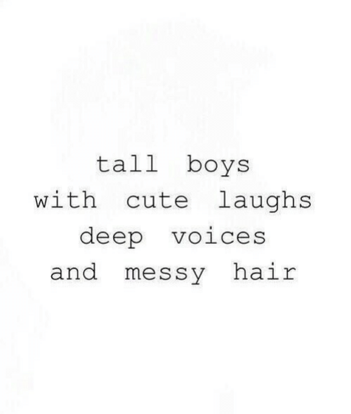 Cute, Hair, and Boys: tall boys  with cute laughs  deep voices  and messy hair