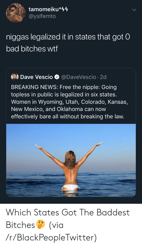 kansas: tamomeiku*44  @yslfemto  niggas legalized it in states that got 0  bad bitches wtf  Dave Vescio  @DaveVescio 2d  BREAKING NEWS: Free the nipple: Going  topless in public is legalized in six states.  Women in Wyoming, Utah, Colorado, Kansas,  New Mexico, and Oklahoma can now  effectively bare all without breaking the law. Which States Got The Baddest Bitches🤔 (via /r/BlackPeopleTwitter)