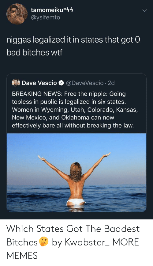 kansas: tamomeiku*44  @yslfemto  niggas legalized it in states that got 0  bad bitches wtf  Dave Vescio  @DaveVescio 2d  BREAKING NEWS: Free the nipple: Going  topless in public is legalized in six states.  Women in Wyoming, Utah, Colorado, Kansas,  New Mexico, and Oklahoma can now  effectively bare all without breaking the law. Which States Got The Baddest Bitches🤔 by Kwabster_ MORE MEMES