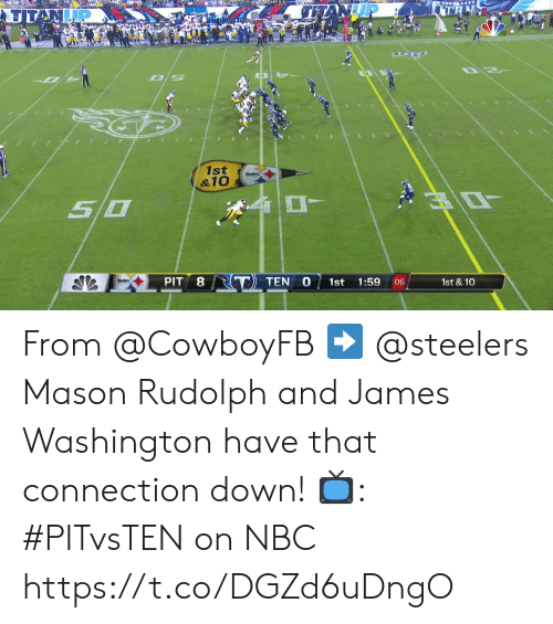 Memes, Steelers, and 🤖: TAN  TITAN  1st  &10  O  50  RT TEN  PIT  1st  1st & 10  1:59  :06 From @CowboyFB ➡️ @steelers  Mason Rudolph and James Washington have that connection down!   📺: #PITvsTEN on NBC https://t.co/DGZd6uDngO