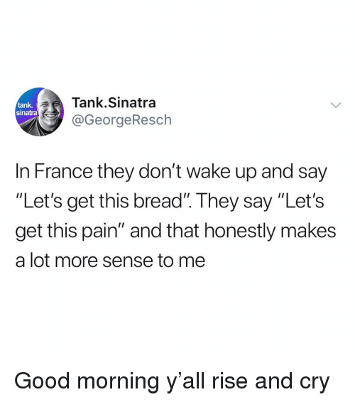 "Funny, Good Morning, and France: Tank.Sinatra  @GeorgeResch  tank  sinatra  In France they don't wake up and say  ""Let's get this bread"". They say ""Let's  get this pain"" and that honestly makes  a lot more sense to me Good morning y'all rise and cry"