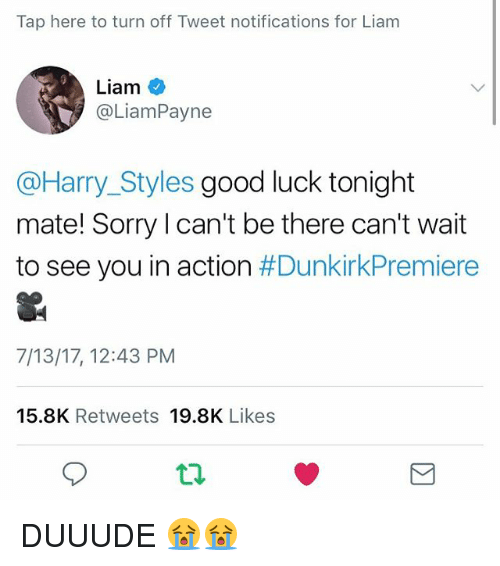 turn offs: Tap here to turn off Tweet notifications for Liam  Liam  @LiamPayne  @Harry_Styles good luck tonight  mate! Sorry l can't be there can't wait  to see you in action #DunkirkPremiere  7/13/17, 12:43 PM  15.8K Retweets 19.8K Likes  9 DUUUDE 😭😭