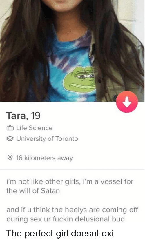 perfect girl: Tara, 19  n Life Science  University of Toronto  O 16 kilometers away  i'm not like other girls, i'm a vessel for  the will of Satan  and if u think the heelys are coming off  during sex ur fuckin delusional bud The perfect girl doesnt exi
