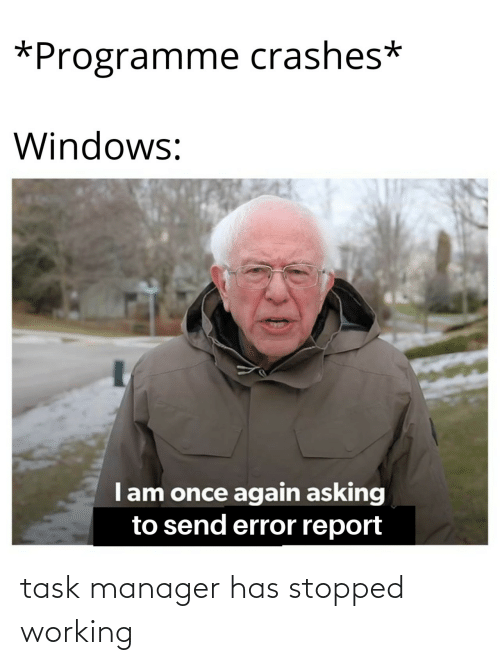Stopped: task manager has stopped working